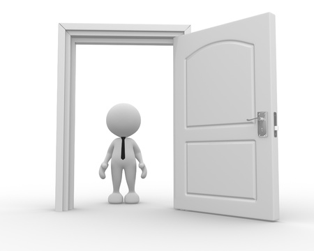 3d people - man, person in front of open door. Stock Photo - 15117878