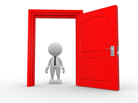 welcome door: 3d people - man, person in front of open door. Stock Photo