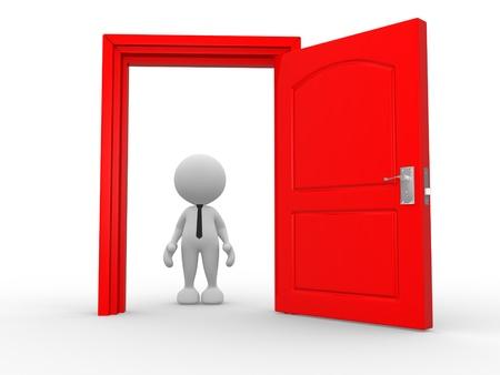 door man: 3d people - man, person in front of open door. Stock Photo