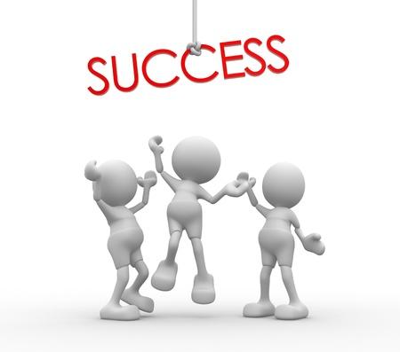 """3d personnes - hommes, personne se battent pour un mot """"succès"""""""