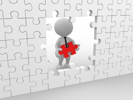 3d people - man, person with a puzzle Stock Photo - 15117903