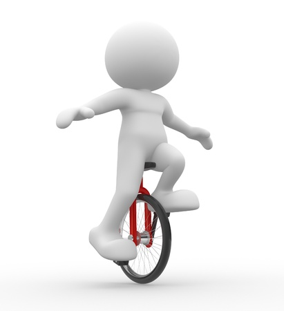 acrobatics: 3d people - men, person with unicycle.