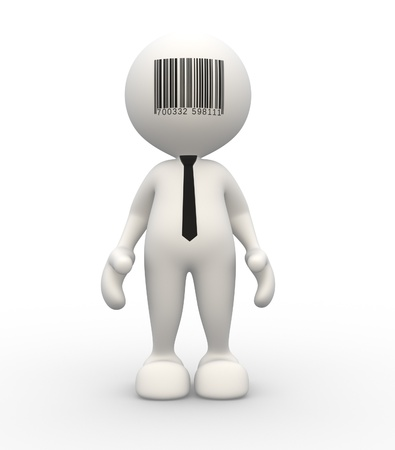 bars code: 3d people - man, person and barcode on forehead. Conceptual image