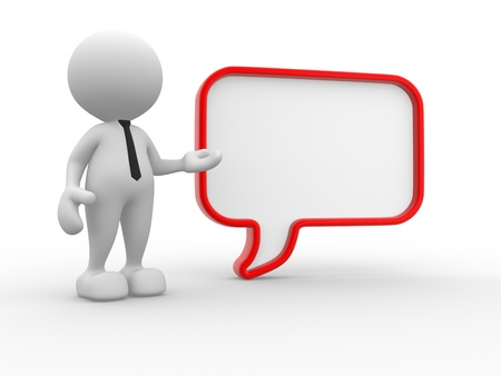 a person: 3d people - man, person with a blank speech bubble. Communication concept Stock Photo