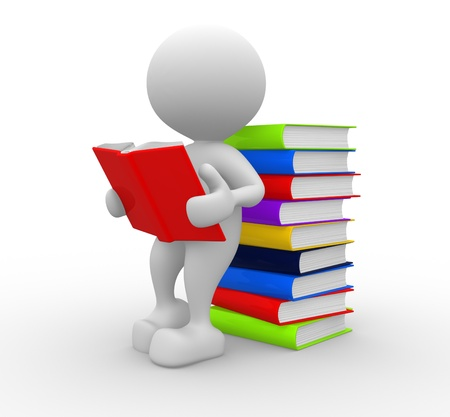3d people - man, person reads a book, leaning back against a pile of books Stock Photo - 15117889