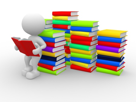3d people - man, person reads a book, leaning back against a pile of books photo
