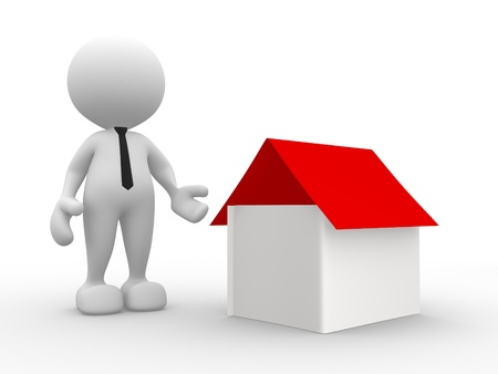 seller: 3d people - man, person with  a house. Seller
