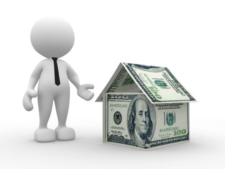 3d people - man, person with  a house of U.S dollars photo