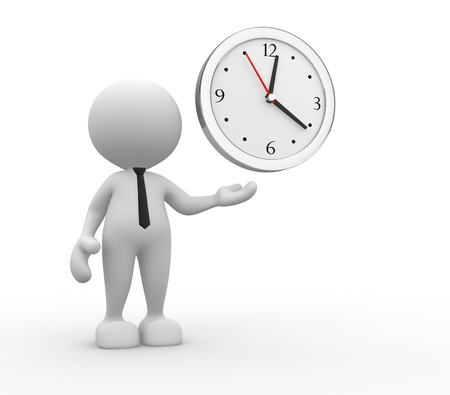 elapsed: 3d people - man, person and a clock Stock Photo