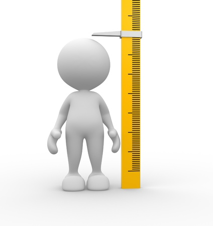 height: 3d people - man, person measuring his height.