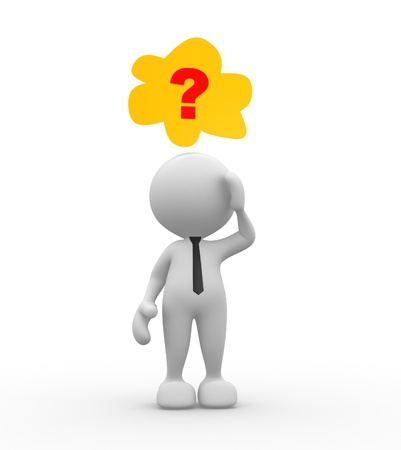 man confused: 3d people - man, person who dreams.  Question mark Stock Photo