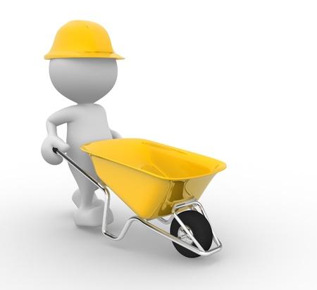 wheelbarrow: 3d people - man, person with a wheelbarrow. Construction worker