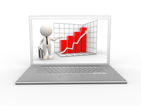 laptop: 3d people - man, person with a laptop and showing growth progress graph chart.