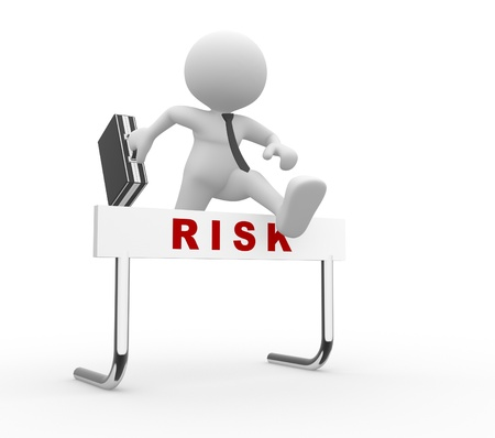 h�rde: 3d Menschen - ein Mann, Person, Springen �ber eine H�rde Hindernis Titel Risiko Gesch�ftsmann