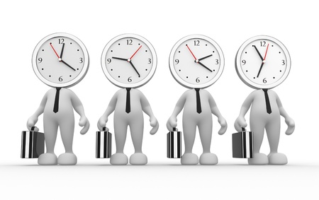 busy office: 3d people - man, person running out of time  A clock