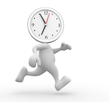 3d people - man, person running out of time  A clock Stock Photo - 15117909