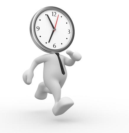 3d gente - hombre, persona acaba el tiempo de un reloj