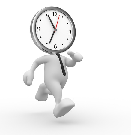 3d people - man, person running out of time  A clock Stock Photo - 15117910