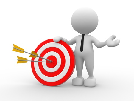objectives: 3d people - man, person with a target and arrows  Stock Photo