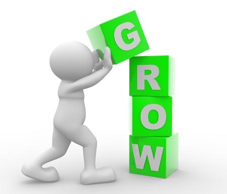 """3d gente - hombre, persona con cubos y una palabra """"crecer"""". Concepto de crecimiento"""