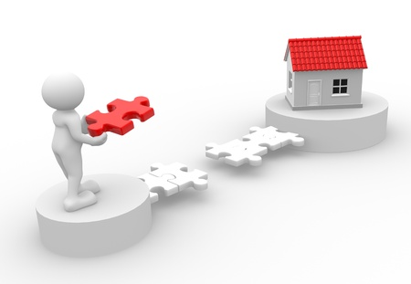 real estate planning: 3d people - man, person with pieces of puzzle and a house.