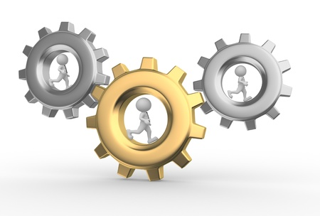 one people: 3d people - men, person with briefcase running in gear wheels. Businessman and gear mechanism Stock Photo