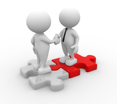 alliance: 3d people - men, person shaking hands on puzzle pieces. The concept of business partners
