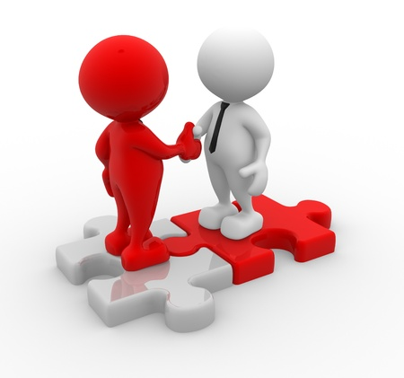 business partnership: 3d people - men, person shaking hands on puzzle pieces. The concept of business partners