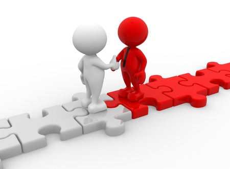 3d people - men, person shaking hands on puzzle pieces. The concept of business partners