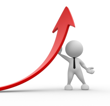 3d people - man, person leaning on a rising graph arrow. Stock Photo - 15117921