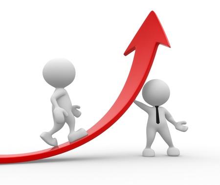 verhogen: 3d mensen - mannen, persoon en een grafiek pijl. Business partners.