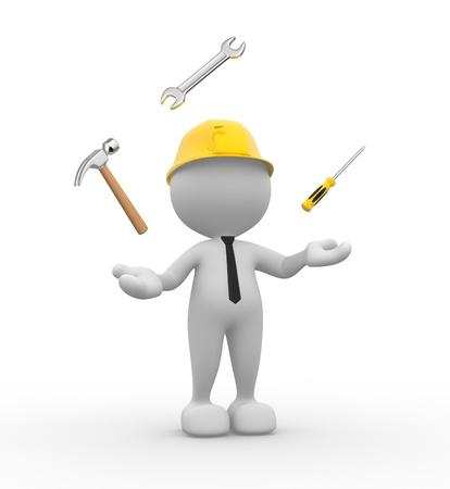 3d Menschen - ein Mann, Person mit Schraubenschlüssel, Hammer und Schraubendreher. Jonglieren mit Werkzeugen.