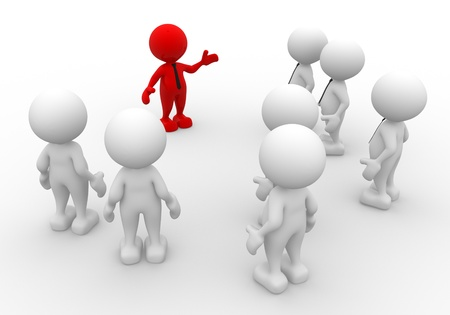 3d people - men, person in group. Leadership and team