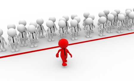 3d people - men, person in group. Business challenge.  Leadership and team