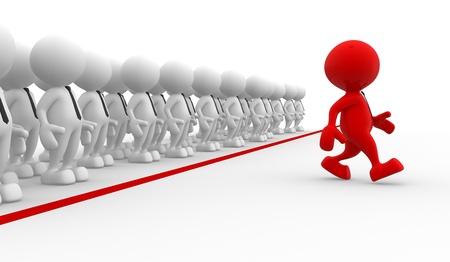 lideres: 3d personas - hombres, persona en el grupo. Negocios desafío. Liderazgo y equipo