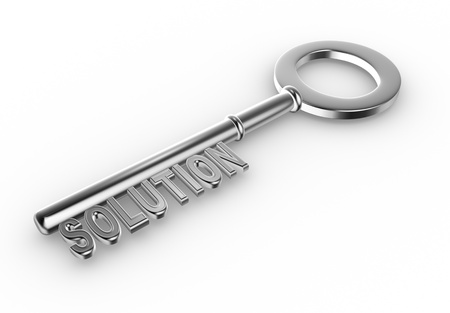 3d solutions key - key with Solutions text as symbol for success in business. Conceptual image Stock Photo - 15298006
