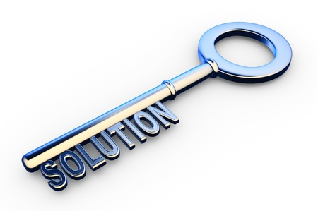 management concept:  3d solutions key - key with Solutions text as symbol for success in business. Conceptual image  Stock Photo