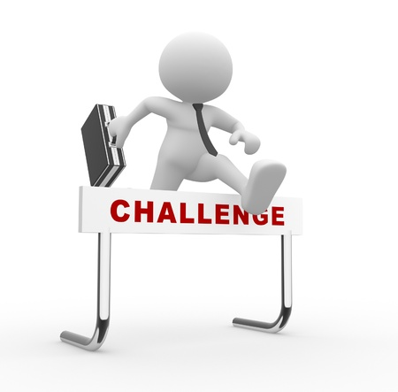 3d mensen - man, persoon springen over een hindernis obstakel titel uitdaging. Stockfoto