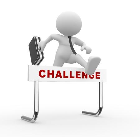 3d personnes - homme, personne sautant par-dessus un obstacle obstacle intitulé défi. Banque d'images