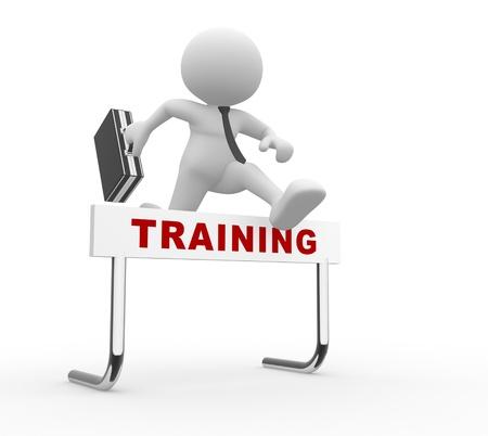 h�rde: 3d Menschen - ein Mann, Person, Springen �ber eine H�rde Hindernis berechtigt Training. Lizenzfreie Bilder
