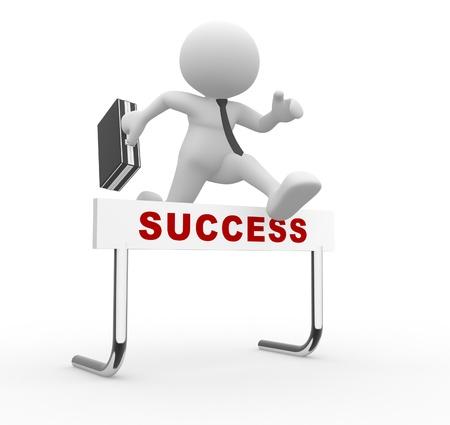 follow the leader: 3d mensen - man, persoon springen over een hindernis obstakel getiteld succes Stockfoto