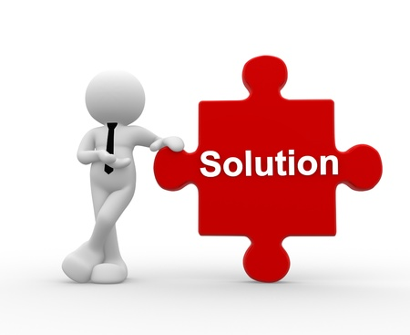 solutions icon: 3d people - man, person with pieces of puzzle and word Solution.
