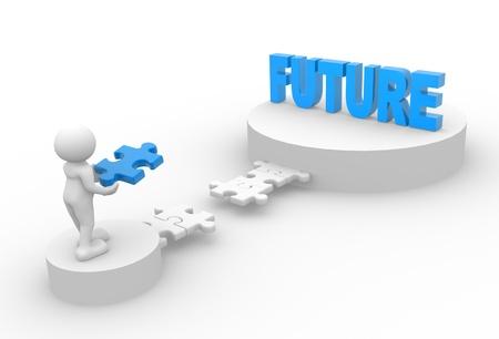 """3d gente - hombre, persona con piezas de rompecabezas y de palabra """"futuro""""."""