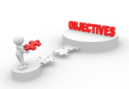 objectives: 3d people - man, person with pieces of puzzle and word  Objective
