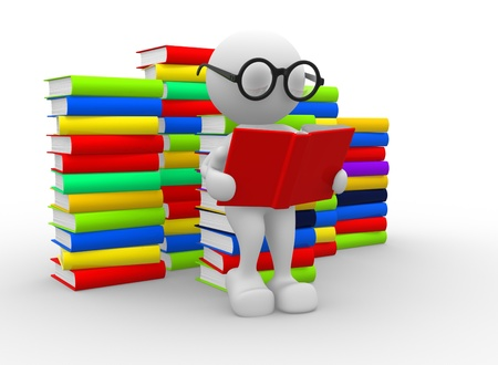3d people - man, person and books. Education concept  photo