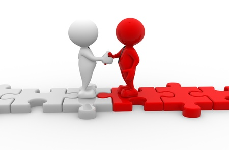 confident man: 3d people - men, person shaking hands on puzzle pieces. The concept of business partners