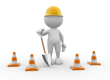 under construction sign with man: 3d people - man, person with traffic cones and a shovel.
