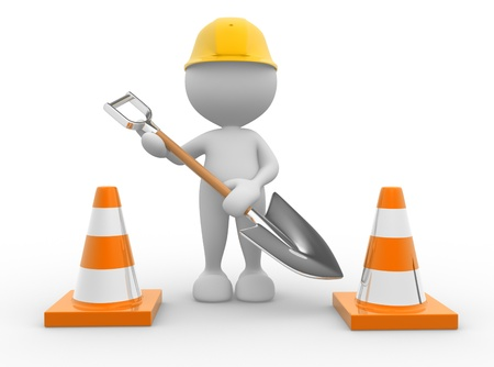3d people - man, person with traffic cones and a shovel. photo