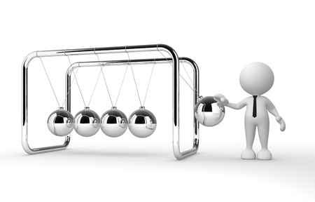 3d people - man, person and Newton's cradle photo