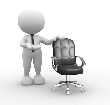 leadership qualities: 3d people - man, person and  an empty chair.